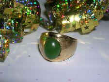 Mens Womens Vintage Estate 14k Gold 3ct JADE JADEITE CABOCHON Dome Ring 10.2gr