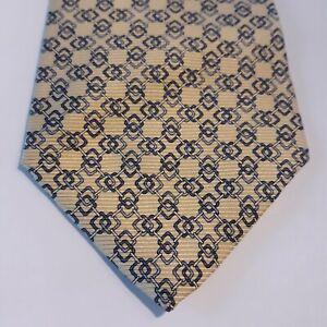 Tommy Hilfiger Mens Necktie 100% Silk Yellow Classic Geometrical Pattern