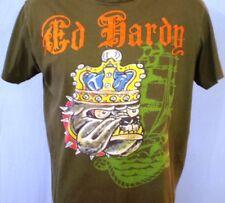 Ed Hardy Green Large T-Shirt Ed Hardy Logo Vintage Cotton