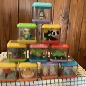 Bundle Fisher Price Peek A Boo Toys Building Activity Blocks x 10 Used