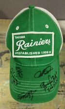 Tacoma Rainiers Green White Mesh Baseball Cap Trucker Hat 5 Autographs on Brim