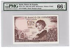 Spain 100 Pesetas Banknote 1965 (ND 1970) Pick# 150 PMG GEM UNC 66 EPQ