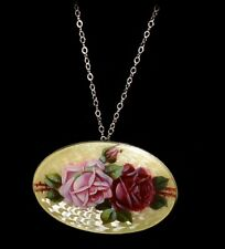 Gorgeous Antique STERLING ENAMEL GUILLOCHE Hand Painted Roses Pendant Necklace