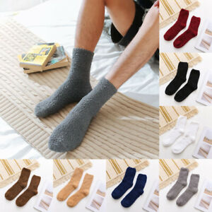 Mens Solid Cashmere Socks Fluffy Socks Thermal Cosy Sock Slipper Bed Socks