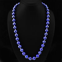 TRUELY WORLD CLASS 504.18 CTS NATURAL BLUE LAPIS LAZULI ROUND BEADS NECKLACE