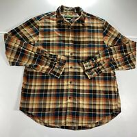 Eddie Bauer Button Up Shirt Adult Large Blue Red Plaid Flannel Long Sleeve Mens
