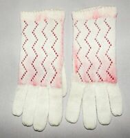 Vintage Ladies Winter Gloves Ivory Pink Knit Double Layer On Back Of Hand
