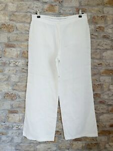 Marks And Spencer Size 12 Wide Leg Linen Trousers White