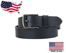 Men's US Steer Hide Milled Leather 38MM Belt Gun Metal Buckle Made In The USA