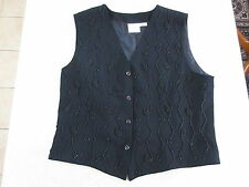 Women's JACQUI E Size M Vest Top Black Near New ExCon Vintage Beads Work Office