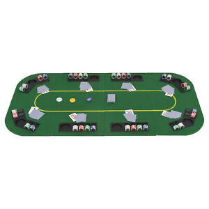 Rectangular 8 Player Folding Poker Tabletop Green Upholstery Cup Chip Holders