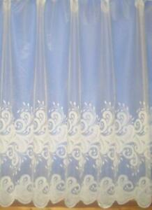 8 metres wide x 60 inch drop, Cornelli White net , roll remnant, hence price,