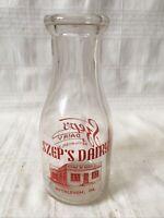 Vintage Pint Milk Bottle Szep's Dairy Bethlehem Pennsylvania 1949