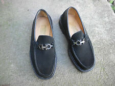 SALVATORE FERRAGAMO BLACK SUEDE LOAFERS SIZE 7EE