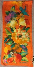 NWT RALPH LAUREN FLORAL 100% SILK SCARF ORANGE  MSRP: $45