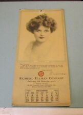1921 Sigmund Ullman Ink Company Frances Pinup Girl Calendar Chicago Illinois
