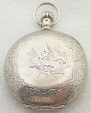 Antique 18S Columbus 11 Jewel Engraved Bird Hunter Case Pocket Watch