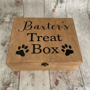 Personalised Rustic Wooden Dog Cat Pet Treat Box Paw Prints Food Toy