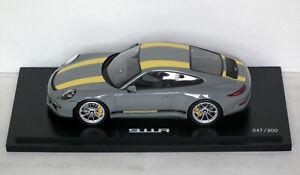 Spark Dealer Ed Porsche 911R Grey & Yellow + case WAX02100031 1/18 Boxed 47/300