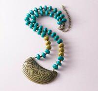 Bohemian Boho Teal Beaded Antiqued Brass Bronze Bib Necklace