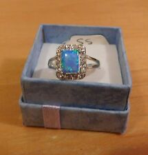 Ring-Sterling-Silver-Opal-Square-Cut-Size-7-New STAMPED 925