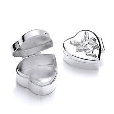 Argent sterling forme cœur fée pilule boîte à bijoux 8g