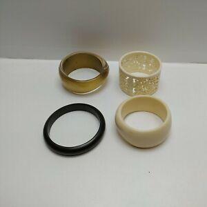 Chunky Bracelets x 4 Plastic Black Cream & Gold Boho Hippie Festival - Pre-Owned