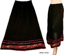 Ethnic Indian Rajasthani Banzara Crinkle Long Skirt Belly Dance Black-1434