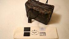Authentic PRADA Saffiano Camouflage Print Double Zipper Leather Briefcase (FUMO)