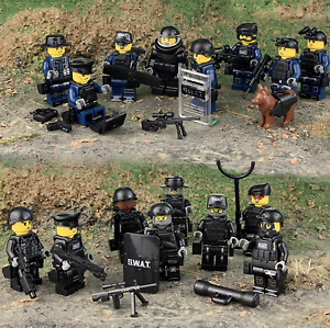 16 Pcs Special Unit SWAT Police Officers Mini Figures with Weapon Pack fits Lego