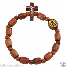 Our Lady of Guadalupe Medal Rosary Bracelet with Crucifix New, Jatoba Wood Beads