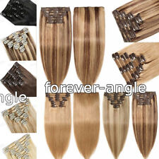 Double Weft Clip in Premium Remy Human Hair Extensions Straight 100gram 7A Grade