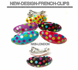 FRENCH CLIPS POLKA DOT STYLE GOOD QUALITY GIRLS LADIES FRENCH BARRETTES CLIPS