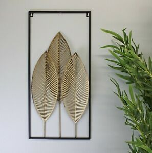 Gold and Black Metal 3 Leaf Wall Hanging Decoration Sculpture Home Decor 58cm