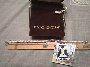 "Tycoon SS Platinum Rectangular Simulated Rectangular Diamond 8"" Tennis Bracelet"