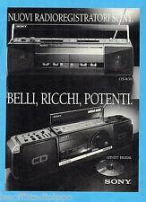 QUATTROR988-PUBBLICITA'/ADVERTISING-1988- SONY - RADIOREGISTRATORI