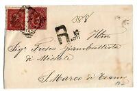 Vittorio Em II° + Umberto Mista 2 Re - viaggiata per S.Marco di Teano  nel 1885