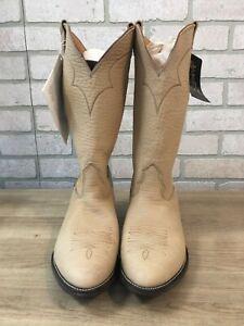 Vintage NOCONA Men's Bison Tanned Chamois Cowboy Boots, Size 11.5 E- New