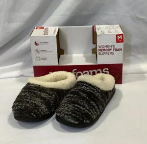Dearfoams Womens Memory Foam 985410 Pull On Black Multi Clog Slippers Size 7-8