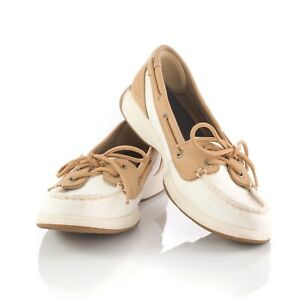 Sperry Top Sider White Tan Canvas Boat Shoes Loafers Casual Shoes Womens 8