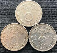 WW2 Nazi Germany Original Silver Swastika Coin 2 Mark - Third 3. Reich German