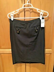 GRACE ELEMENTS CHARCOAL GRAY CAREER SKIRT POCKETS NWT 6 FREE SHIPPING!