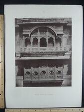 Rare Antique Original VTG House Front At Ajmere Engraving Art Print
