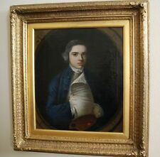 English School Portrait Oil Canvas Painting of a Young Artist, 18th century