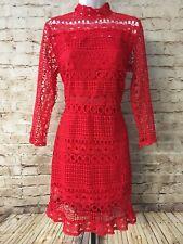 Yoins Red Eyelet Lined Dress Jr L Long Sleeves