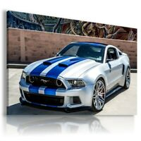 FORD MUSTANG WHITE BLUE Sport Cars Wall Art Canvas Picture A184 UNFRAMED-ROLLED