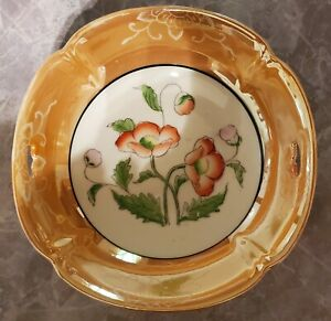 VINTAGE ANTIQUE FLORAL LUSTERWARE BOWL WITH POPPIES MADE IN JAPAN