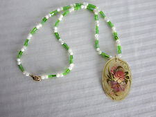 Hancrafted Necklace MOP Beads Green Czech Glass Beads Russian Floral Pendant New