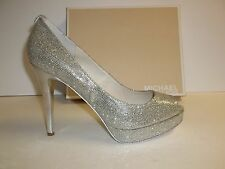 Michael Kors Size 10 M York Silver Glitter Platform Heels New Womens Shoes