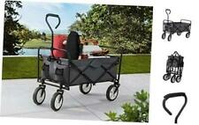 S2 Lifestyle Brazee Collapsible Folding Wagon Cart with Wheels, Gray Gray